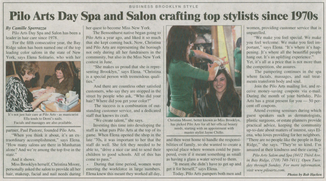 "Courier Life Publications article ""Pilo Arts Day Spa & Salon crafting top stylists since 1970s"""