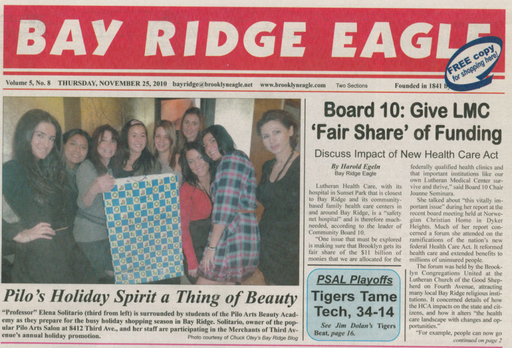 Brooklyn Eagle Cover Page Article - Pilo's Holiday Spirit a Thing of Beauty
