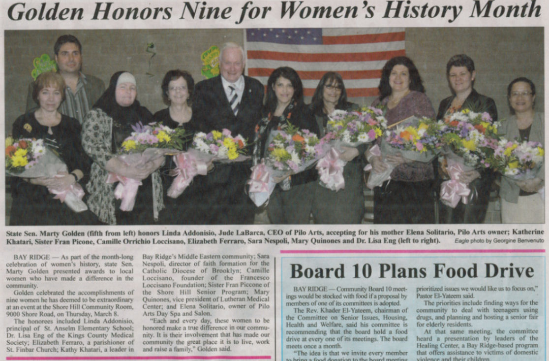 Brooklyn Eagle article - Golden Honors Nine for Women's History Month